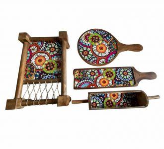 Wonderful Mango Wood Khatiya Platter Printed With Resin Coated