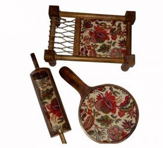 Stunning Mango Wood Khatiya Platter Printed With Resin Coated