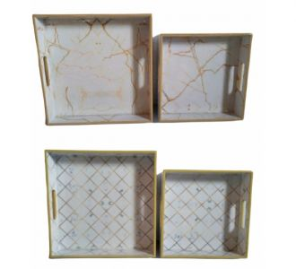 Elegant 2 Pcs Tray Set Produced From Mdf And Resin