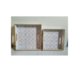 Tray Set Of 2 Pcs Mdf And Resin Completed