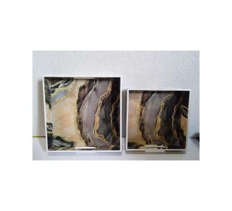 Exquisite 2 Pcs Tray Set Featuring Mdf And Resin