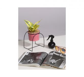 Ceramic Planter Pot With Cup Shaped Metal Stand