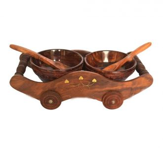 Beautiful Dry Fruit Trolly Two Bowls With Spoon Candy Bowl Namkeen Bowl Vegetable Bowl Wooden Bowl Trolley