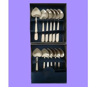 Metallic Heart Shape Dessert Spoon Set Of 12 Pcs In Golden Shade